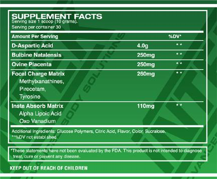 INTEK D-ASPARTIC ACID DAA Supplement Facts
